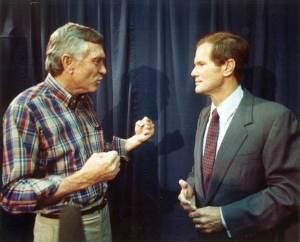 The famous Chiles-Nelson confrontation, where Senator Chiles publicly humiliates Nelson at his own press conference (Credit: State Archives of Florida).
